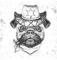 retro hipster animal pug-dog hand drawing muzzle vector image vector image