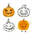 set halloween jack-o-lantern pumpkins vector image vector image