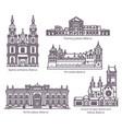 set isolated belarus architecture landmarks set vector image vector image