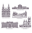 set of isolated belarus architecture landmarks set vector image vector image