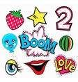set quirky cartoon patch badges or fashion pin vector image
