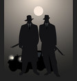 silhouettes two men with machine gun and retro vector image