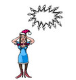 stressed woman wearing santa hat-100 vector image