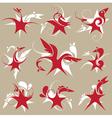 stylized star-bird set emblem vector image vector image