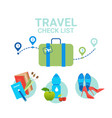 suitcase with clothes icons travel packing check vector image vector image