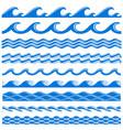 sea water waves seamless borders set vector image