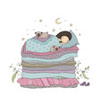 a little girl and cute pugs are sleeping on the vector image vector image