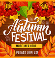 autumn festival invite poster harvest holiday vector image vector image
