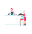 bartender standing at the bar counter mixing vector image vector image