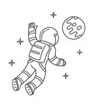 black and white cosmonaut who floating vector image vector image