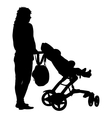 Black silhouettes Family with pram on white vector image vector image