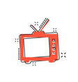 cartoon retro tv screen icon in comic style old vector image vector image