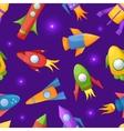 Cartoon rockets 3D seamless pattern vector image