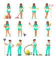 cleaners characters man and woman vector image vector image