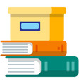 closed cardboard box on books stack icon vector image