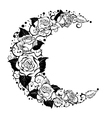 Crescent of Contour Roses vector image vector image