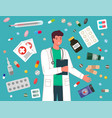 doctor prescription and pills man medical worker vector image vector image