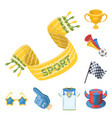 fan and attributes cartoon icons in set collection vector image vector image