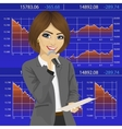 Female finance announcer with microphone vector image vector image