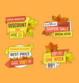 final or total clearence autumn labels discounts vector image vector image