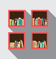 Flat Design Bookshelves Set On Wall vector image