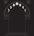 gothic arch with moon phases hand drawn vector image