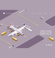 isometric landing page aircraft before vector image