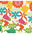 multicolored flowers spring branch leaves vector image