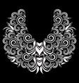 neckline - floral black and white design vector image vector image