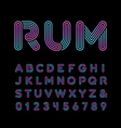 Neon font alphabet with neon stripes effect vector image vector image
