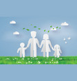 paper family on the grass fiel vector image vector image