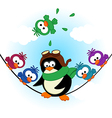 penguin birds on electric wire vector image