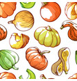 pumpkins hand drawn color seamless pattern vector image vector image