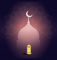 ramadan kareem with mosque lantern and geometry vector image vector image