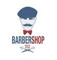 retro style barber shop emblem representing a man vector image