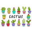 set isolated cactus in color vector image