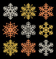 set of color glittering snowflakes over black vector image