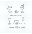 Set of cups mugs and glasses with a vector image