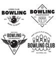 set vintage monochrome style bowling vector image vector image