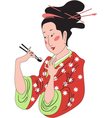 Sushi lady vector image vector image