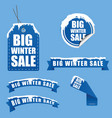 tag winter sale with snow on it in blue vector image vector image