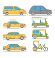 Trendy linear taxi transport icons