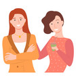 two young girls with coffee cup posing vector image vector image