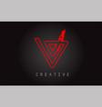 v monogram letter logo design brush paint stroke vector image vector image