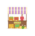 vegetables shop summer market person with veggies vector image vector image