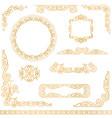 vintage gold decorative frames design element set vector image vector image