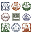 vintage summer vacation stamps set vector image