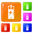 wind turbine battery charging icons set vector image vector image