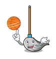 with basketball mop character cartoon style vector image vector image
