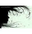 woman silhouette floral hairstyle vector image vector image
